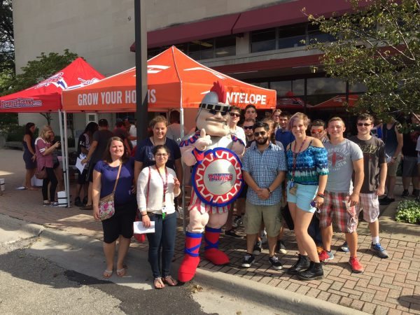 Tommy Titans and incoming University of Detroit Mercy freshman outside Callihan Hall.