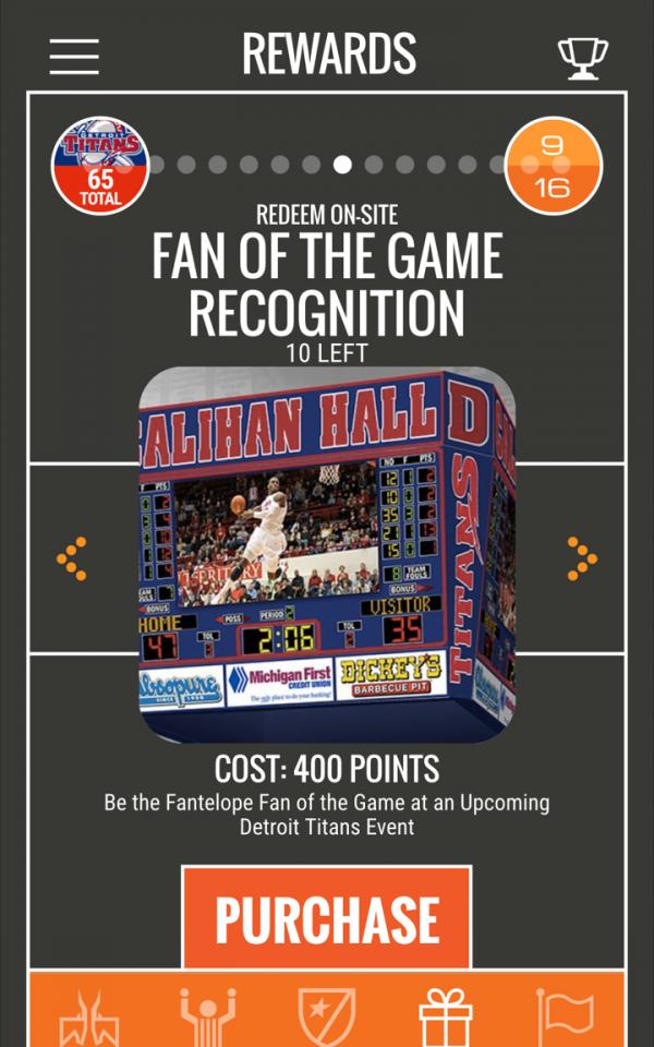 Sample prizes on Detroit Titans Fantelope app.